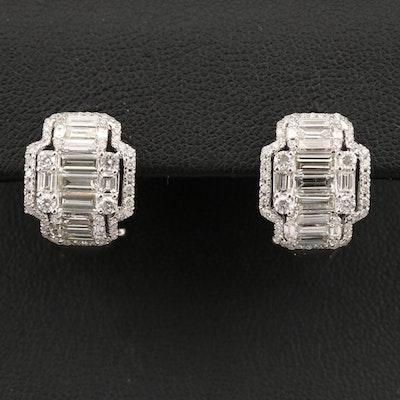 14K 3.05 CTW Diamond J-Hoop Earrings