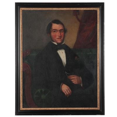 American School Oil Portrait of Gentleman, 19th Century