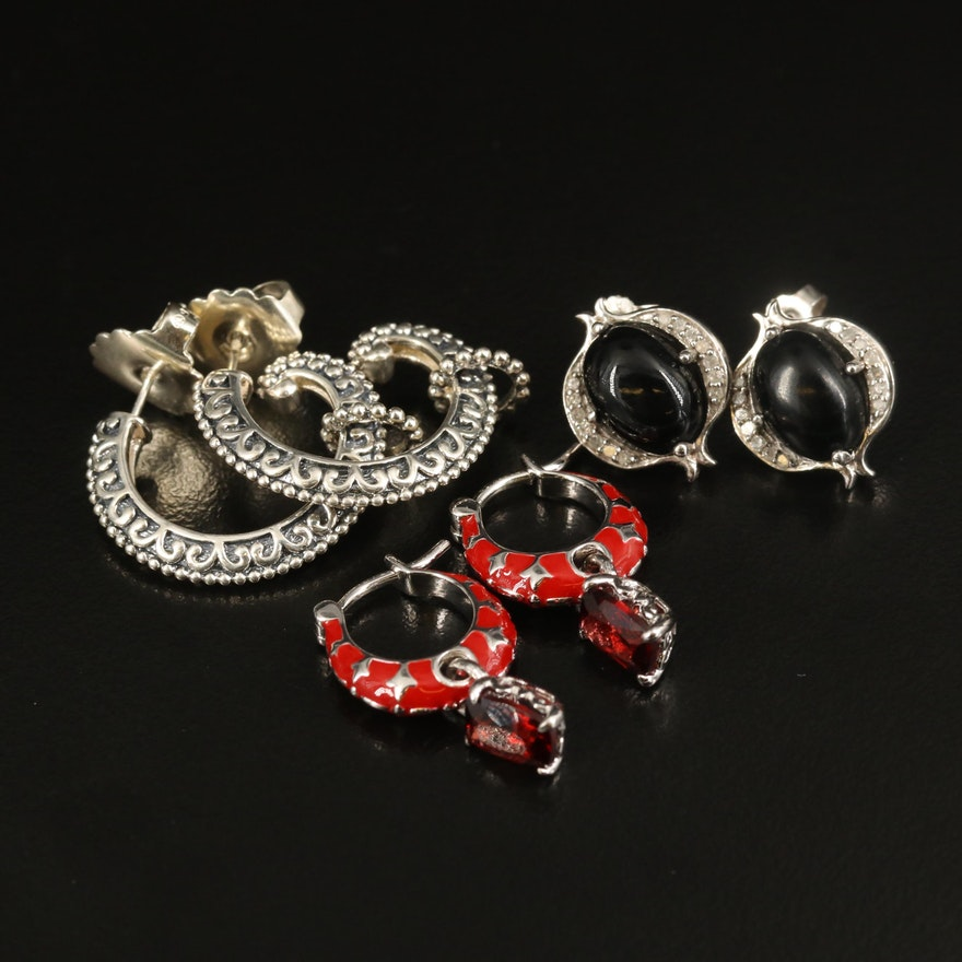 Sterling Earring Selection with Garnet, Black Onyx and Diamond