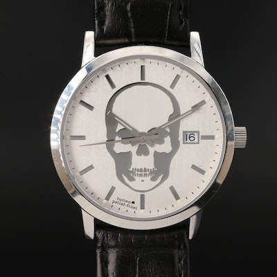 "Lucien ""Pallat-Finet"" Stainless Steel Skull Wristwatch"