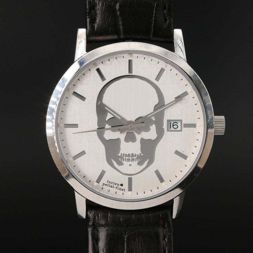 "Lucien ""Pallat-Finet"" Stainless Steel Skull Wristwatch"