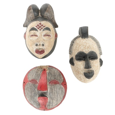 Punu, Igbo, and Central African Style Polychrome Wood Masks