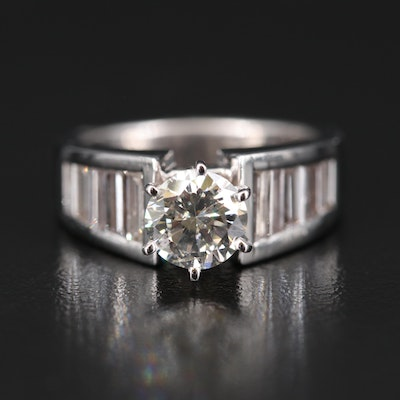 14K Diamond Ring with Channel Shoulders and 1.16 CT Center