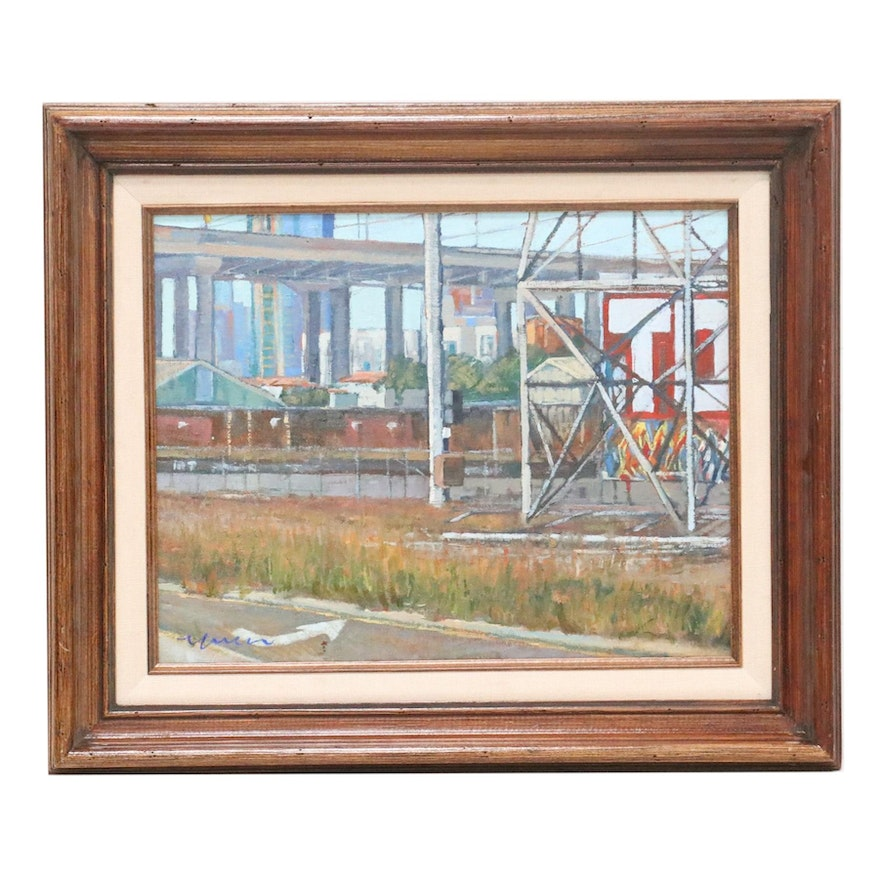 "Kevin Yuen Oil Painting ""Logan Heights Harbor,"" 2020"