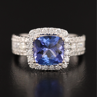 18K 2.30 CT Tanzanite and 1.32 CTW Diamond Ring