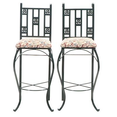 Pair of Green Painted Iron Barstools with Clover Ornamentation