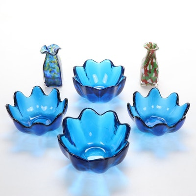Art Glass Vases and Flower Shaped Bowls, Mid to Late 20th Century