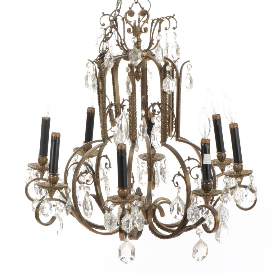 Rococo Style Brass and Crystal Drop Chandelier