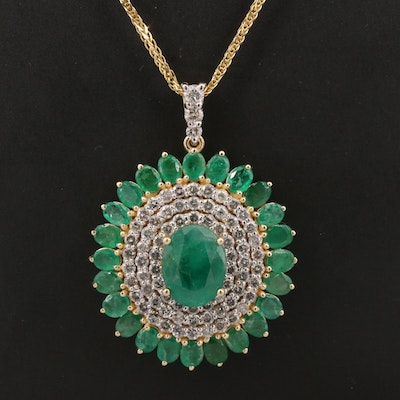 14K Emerald and 1.82 CTW Diamond Pendant Necklace