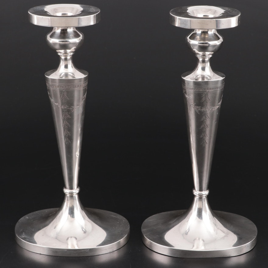 American Sterling Silver Chased Candlesticks