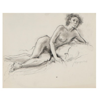 Edgar Yaeger Reclining Female Nude Charcoal Drawing, 1968