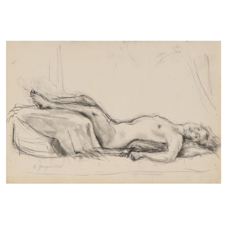 Edgar Yaeger Charcoal Drawing of Reclining Female Nude, 1965