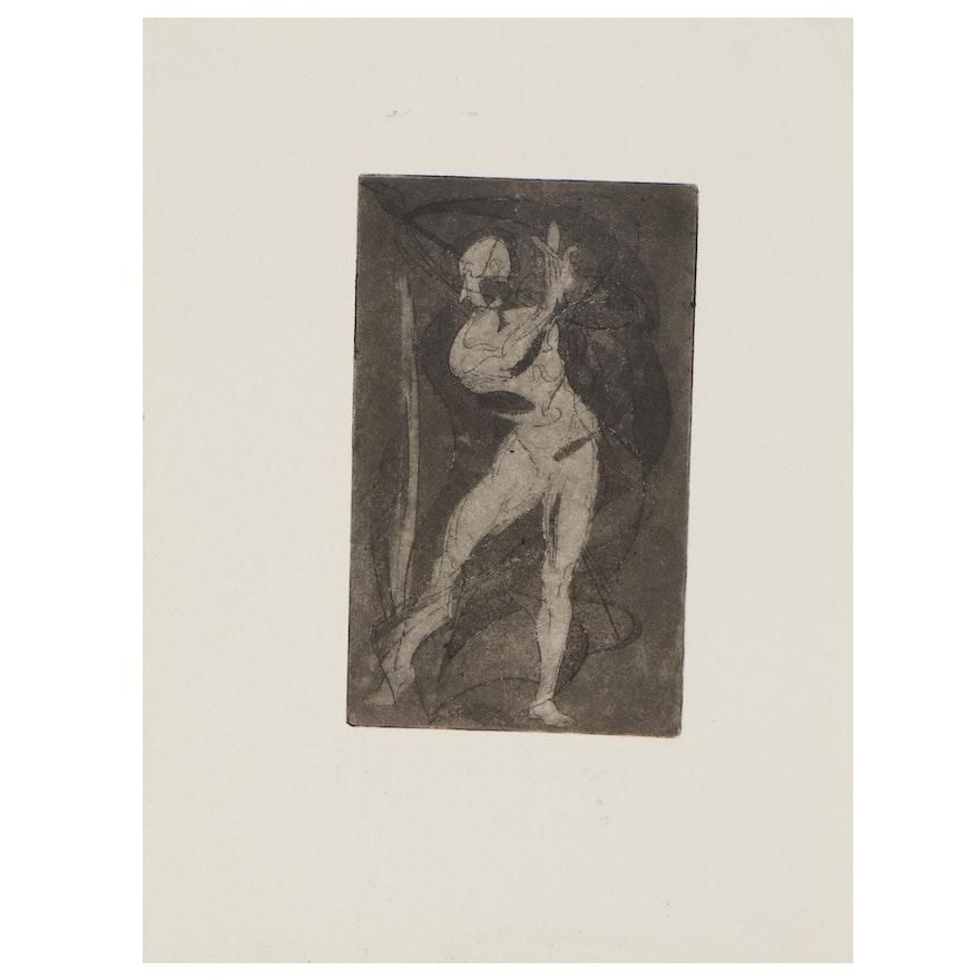 """Arthur Helwig Etching """"Dancer,"""" circa 1971"""
