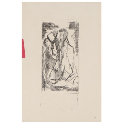 Arthur Helwig Abstract Figural Etching, Mid-20th Century