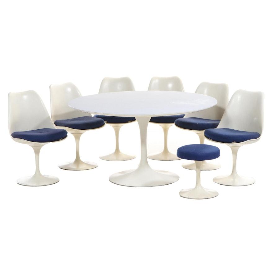 "Eero Saarinen for Knoll Modernist ""Tulip"" Eight-Piece Dining Set, Circa 1971"