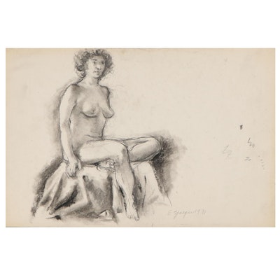 Edgar Yaeger Charcoal Drawing of Seated Woman, 1971