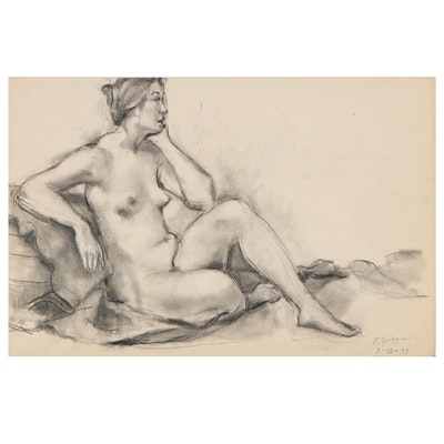Edgar Yaeger Female Nude Charcoal Drawing, 1977