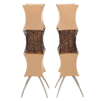 Pair of Paper and Wicker Column Floor Lamps