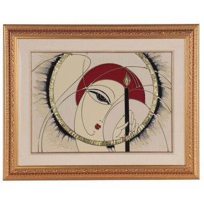 """Martiros Manoukian Gilt Embellished Serigraph """"Winter's Flame"""""""
