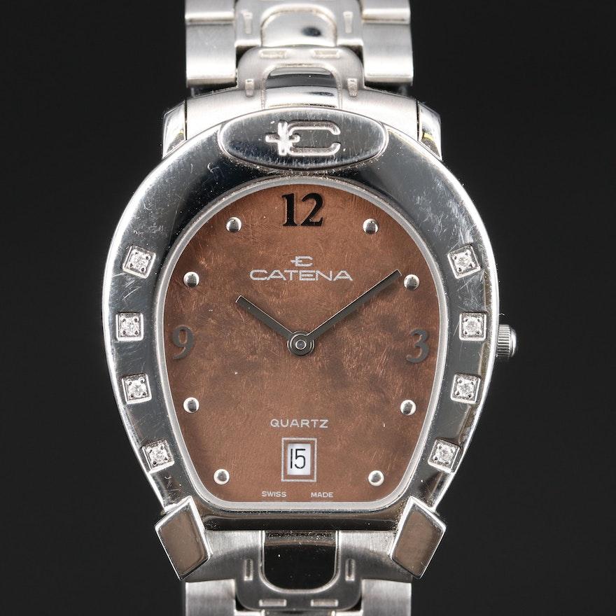 "Catena ""Horseshoe"" Stainless Steel Diamond Quartz Wristwatch"