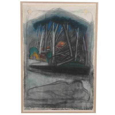 """Edward Giobbi Mixed Media Drawing """"Echo and Narcissus #4,"""" 1988"""
