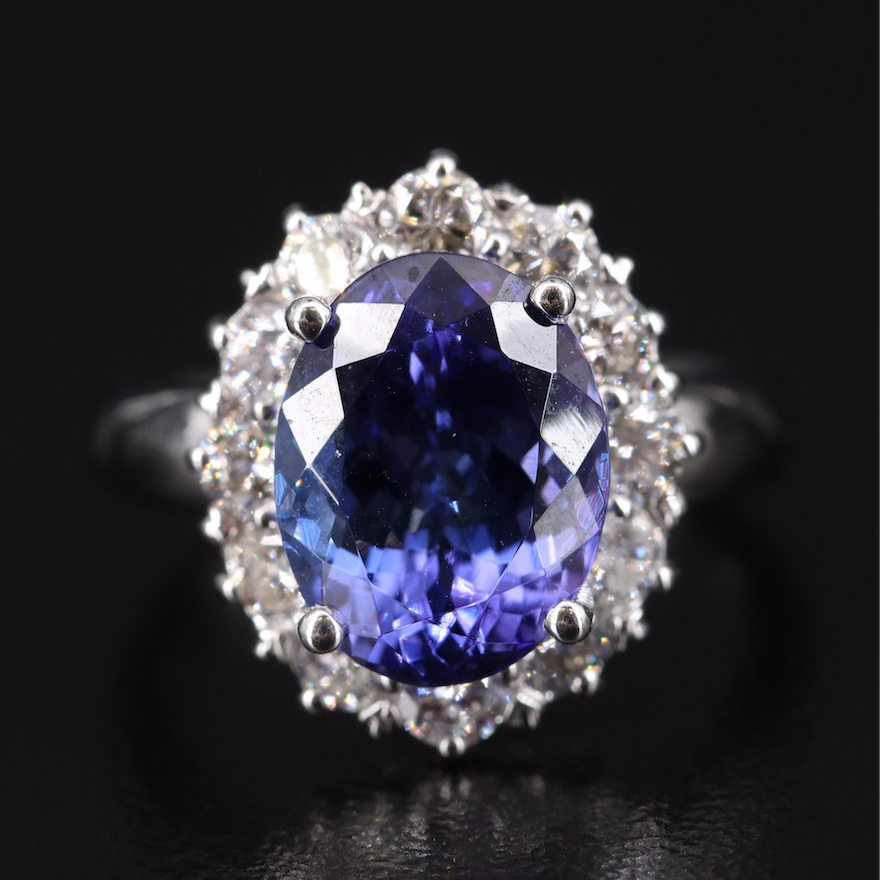 14K 4.29 CT Tanzanite and 1.08 CTW Diamond Halo Ring