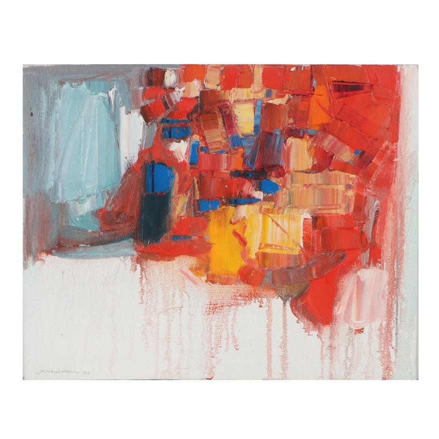 """Jack Meanwell Abstract Oil Painting """"Multi-Color Palate Knife,"""" 1991"""