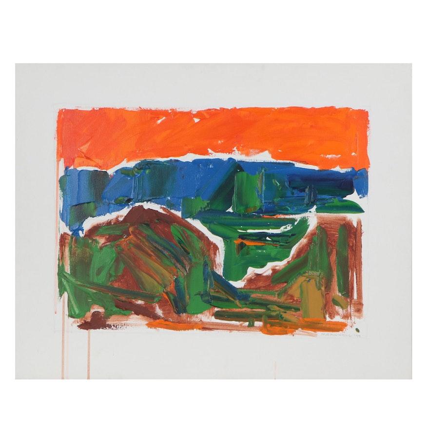 "Jack Meanwell Oil Painting ""Orange Sky/Blue Horizon,"" 1999"