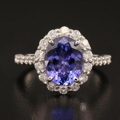 14K 2.76 CT Tanzanite and Diamond Ring