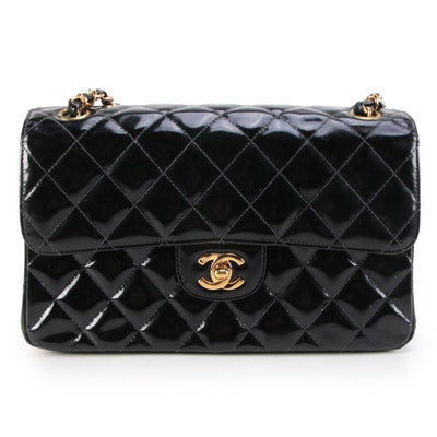 Chanel Double Sided Flap Bag in Quilted Patent Leather with Classic Chain Strap