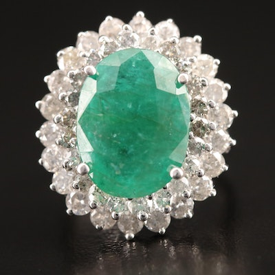 14K 5.10 CT Emerald and 2.41 CTW Diamond Ring