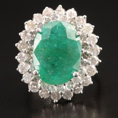 14K 5.10 CT Emerald and 2.41 CTW Diamond Ring