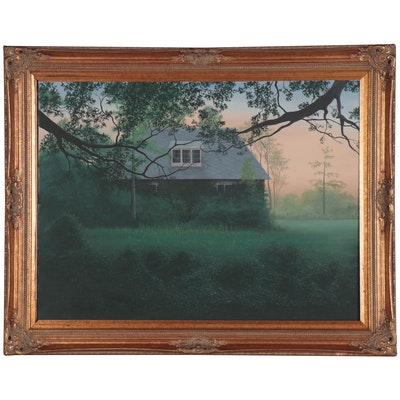 Scott A. Edwards Oil Painting of Cabin the Woods, 2002