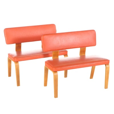 Pair of Thonet Mid Century Modern Bentwood Vinyl Upholstered Benches