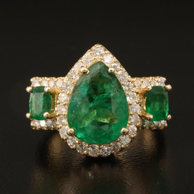 14K Emerald and Diamond Ring with 2.43 CT Center Stone