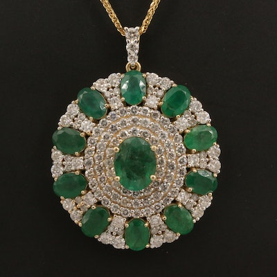 14K 10.20 CTW Emerald and 4.22 CTW Diamond Necklace