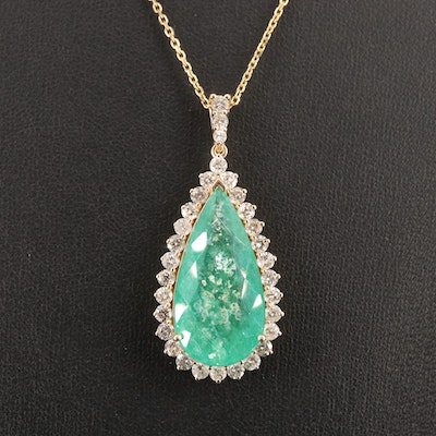 14K 13.00 CT Emerald and 2.14 CTW Diamond Halo Pendant Necklace