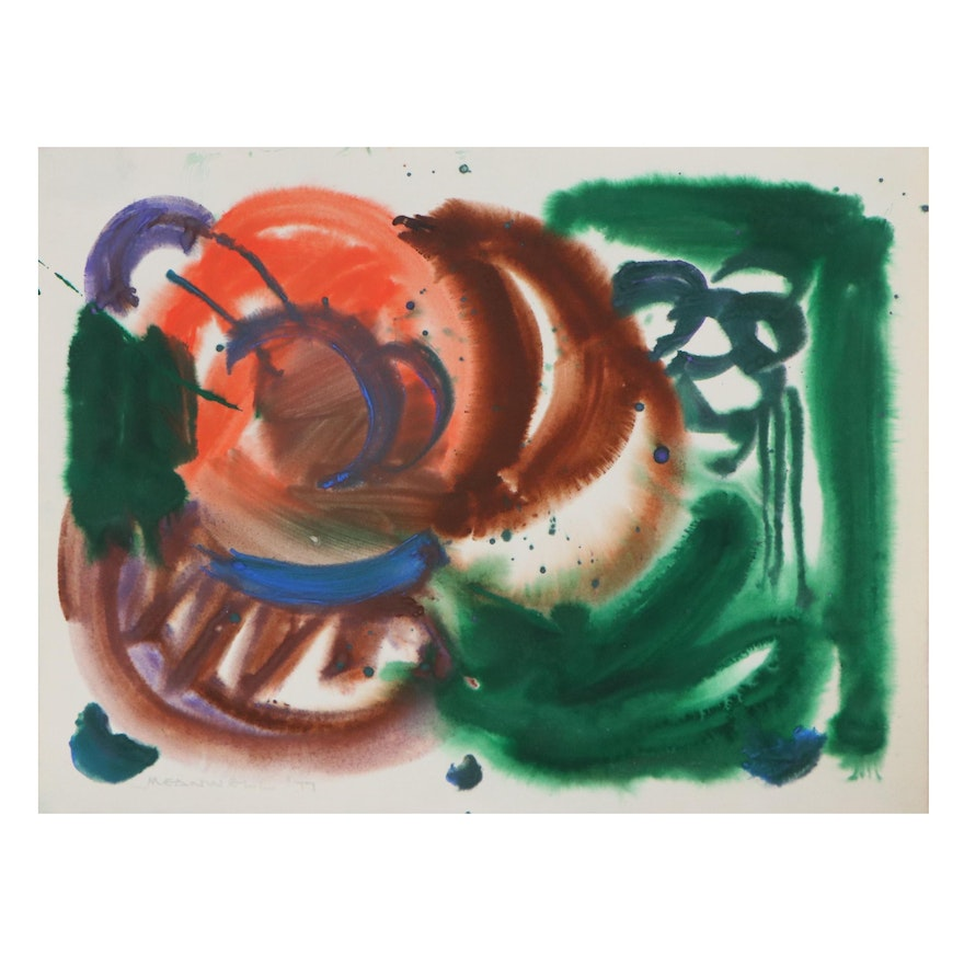 Jack Meanwell Abstract Oil Painting, 1977