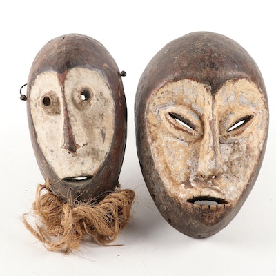Lega Inspired Carved Wood Masks, Central Africa