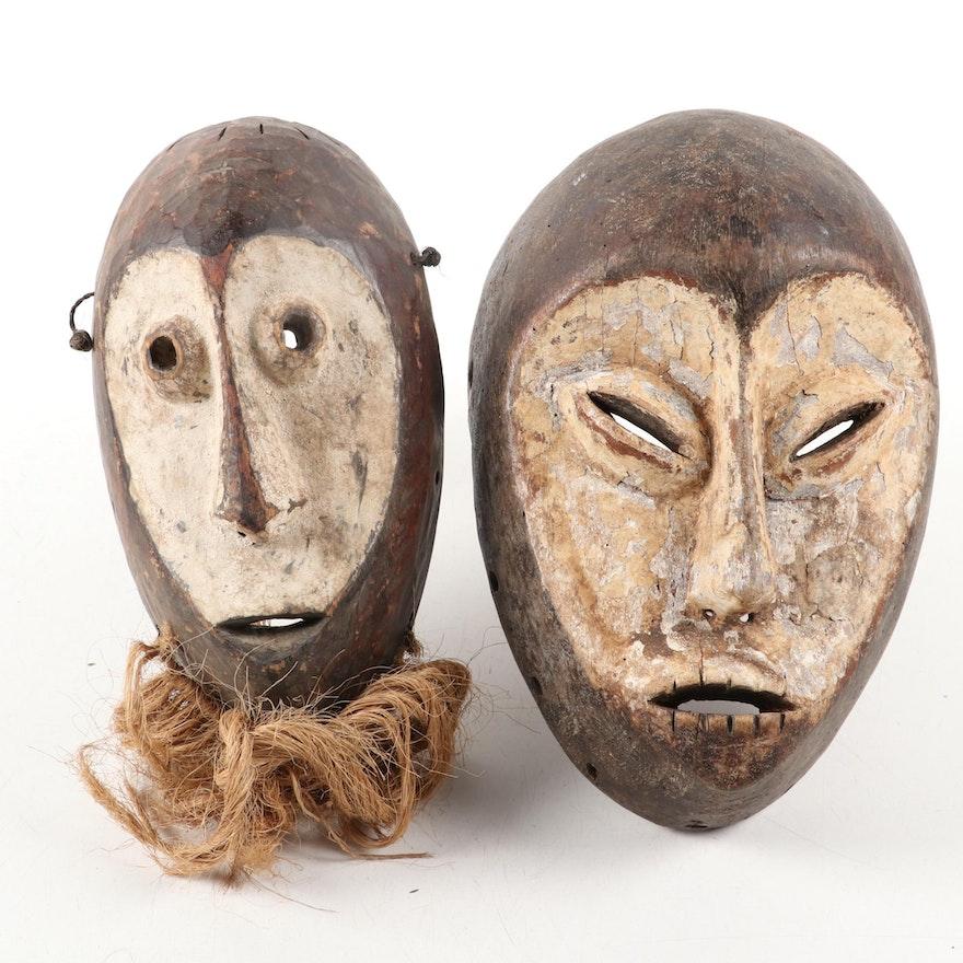 Lega Inspired Carved Wood Masks, Central Africa