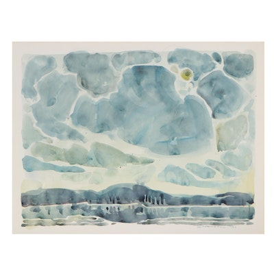 """Jack Meanwell Abstract Watercolor Painting """"Distant Shores,"""" 1978"""