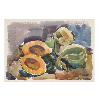 Jack Meanwell Still Life Watercolor Painting of Fruits, Late 20th Century