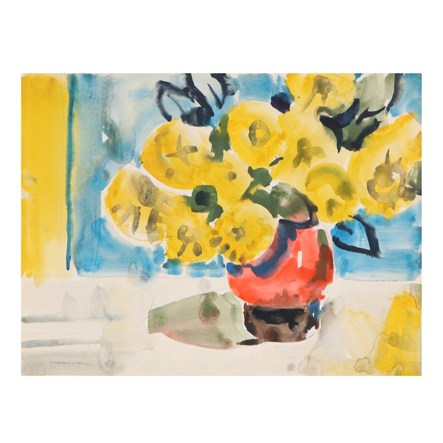 Jack Meanwell Still Life Watercolor Painting of Marigolds, 1978