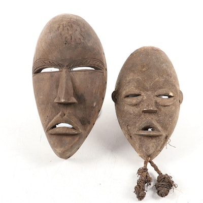 Dan Style Carved Wood Masks, West Africa