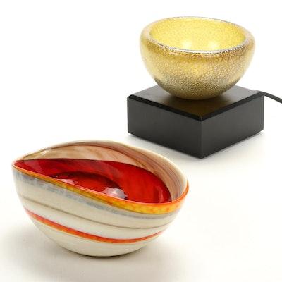 Murano Blown Glass Bowl with Handmade Blown Glass Bowl Light
