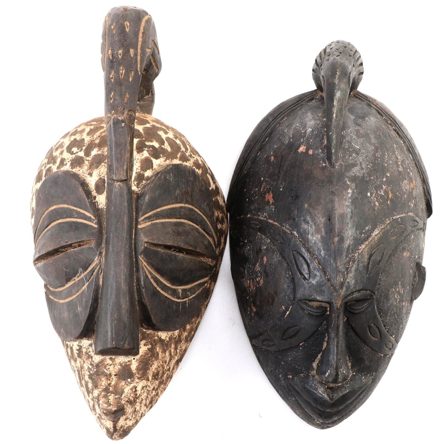 Igbo Style Handcrafted Wood Masks, West Africa