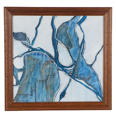 """Rebecca Manns Mixed Media Painting """"Seed Pods in Blue,"""" 2020"""
