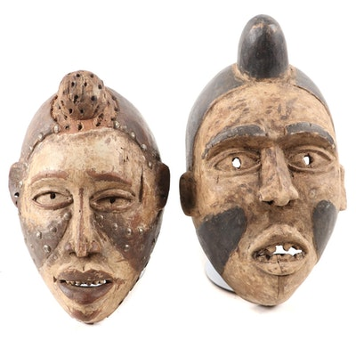 Yombe Style Hand-Carved Wood Masks, Central Africa