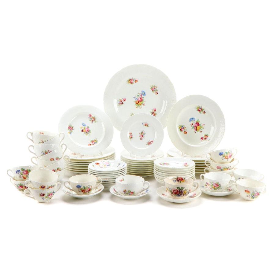 Coalport Floral Embossed Porcelain Dinnerware