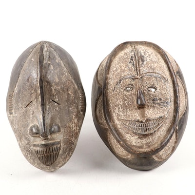 Igbo Inspired Wood Carved Masks, West Africa